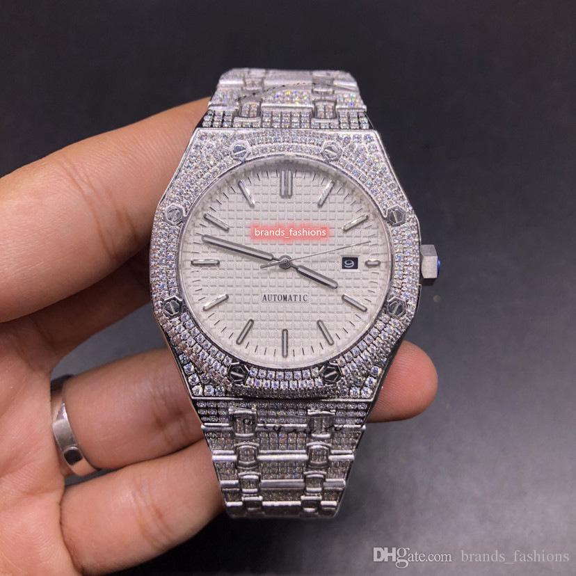 أفضل بيع ساعات للرجال أعمال الوجه الأبيض ووتش الفضة الفولاذ المقاوم للصدأ حالة الماس الشريط التلقائية ووتش ساعة اليد الرياضة