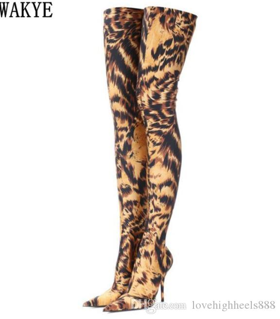 Designer de Leopardo impressão Coxa Botas Altas Botas de Salto Alto ankle boots Apontou toe magro trecho Sobre o Joelho botas meias sapatos