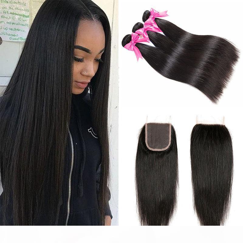 Бразильский Human 3 волос Пучки с 4x4 кружева Закрытие Необработанные бразильские прямые предложения Virgin человеческих волос Weave Удлинители с закрытием