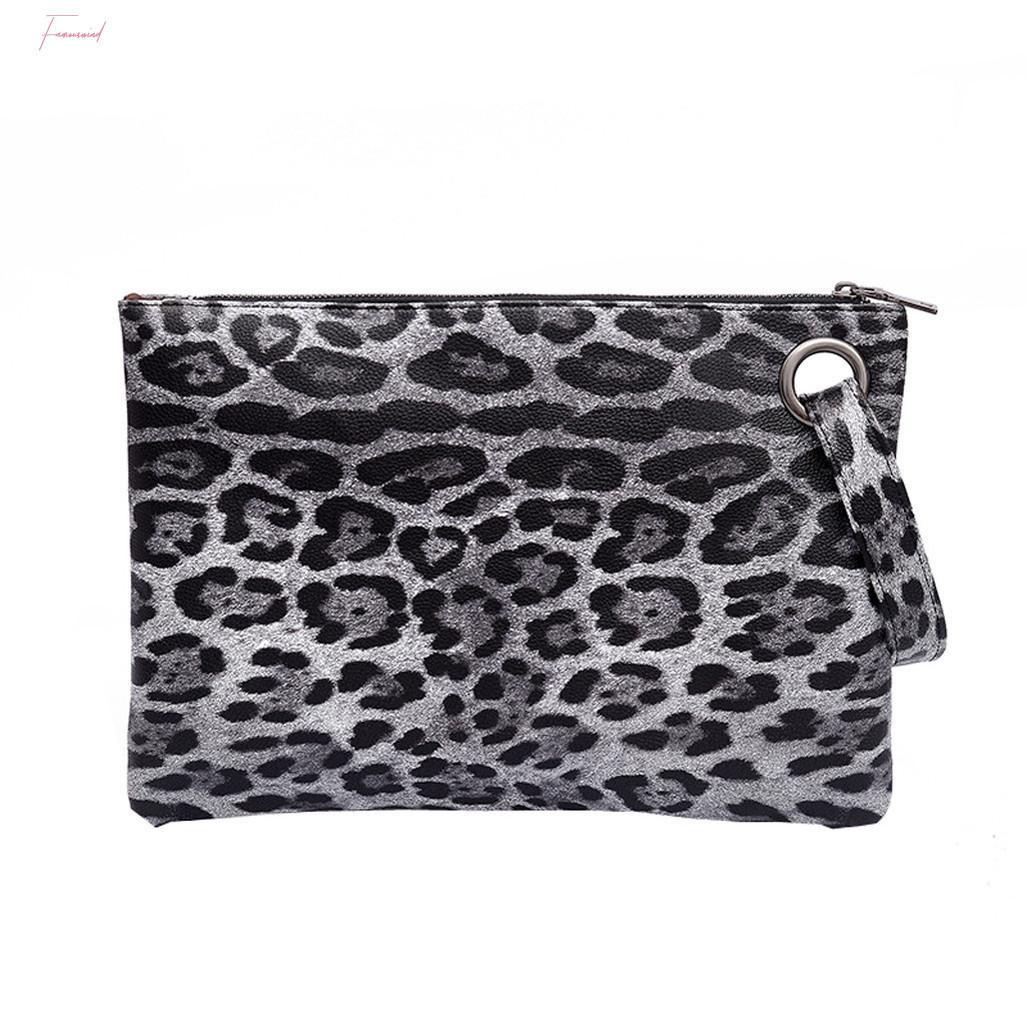Mulheres Envelope Zipper Bag Vintage Handle Bags Zebra Leopard Padrão Mensageiro Ombro Simples Crossbody Bag Pu Lady Purse
