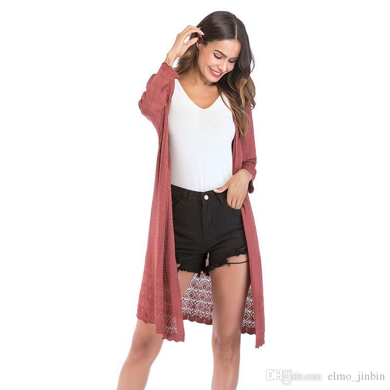 طويل البلوز المرأة محبوك سترة كم طويل العنق صوفية معطف الخريف الشتاء 2019 موضة البلوزات السيدات YY5813