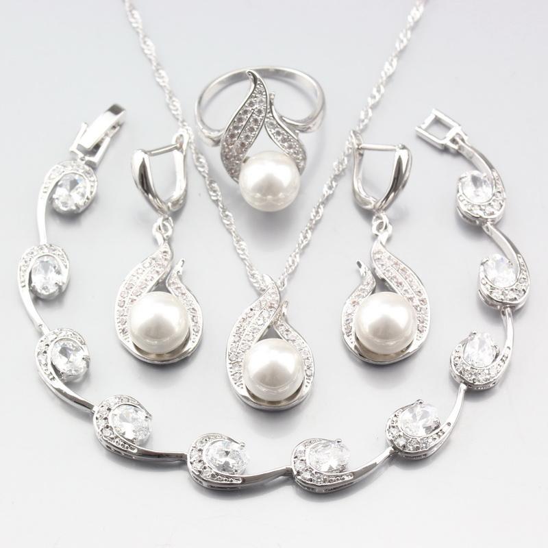 Bijoux ashion Sets Prix spécial Argent ColorWomen Bijoux de mariage Ensembles blanc perle naturelle Zircon Boucles d'oreilles / pendentif / Collier / Bague / Brace ...
