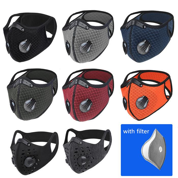 9 Renkler Eğitim MTB Yol Bisikleti Bisiklet Maskesi Koşu Karbon PM 2.5 Karşıtı Kirlilik Aktive Filtreli Ayarlanabilir Spor Yüz Maskesi