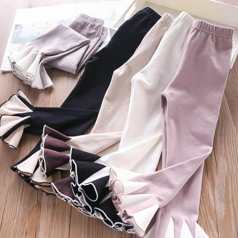 2020 nuevas muchachas de la manera de las muchachas las acampanados pantalones de algodón princesa niños polainas de los niños Ropa para niñas medias de los pantalones flacos B328