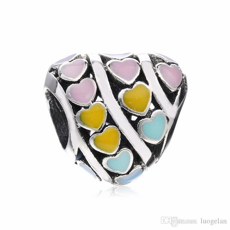 Reflection Beads Sterling Silver Pink Enamel Hearts and CZs Cut Out Circle Bead