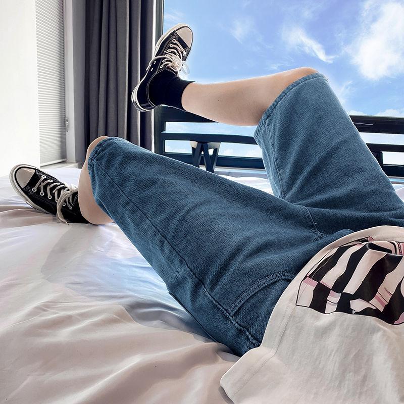 2020 새로운 한국 성격 여름 남성 트렌드 와일드 스트리트 학생 캐주얼 바지 힙합 스타일 단색 5 점 청바지