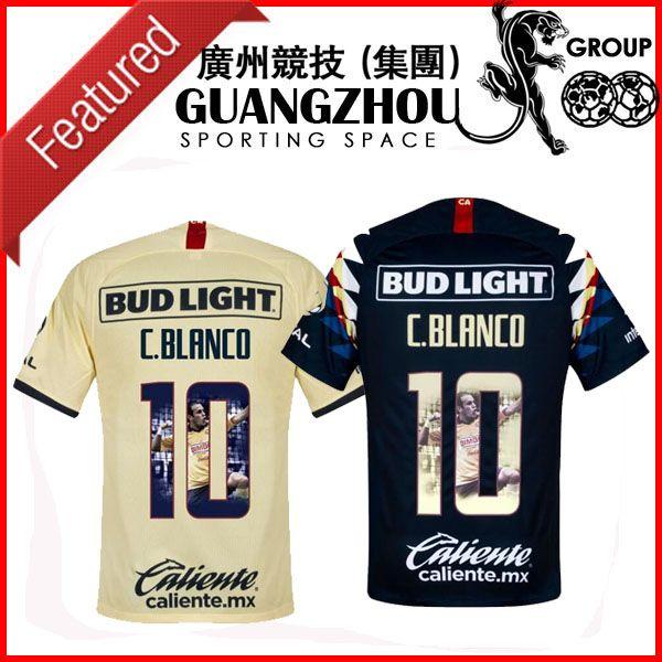 2019 2020 Club America Home C. Blanco 10 Camisetas de fútbol especiales Camiseta ajustada con estampado de galería JERSEY CAMISAS DE FÚTBOL