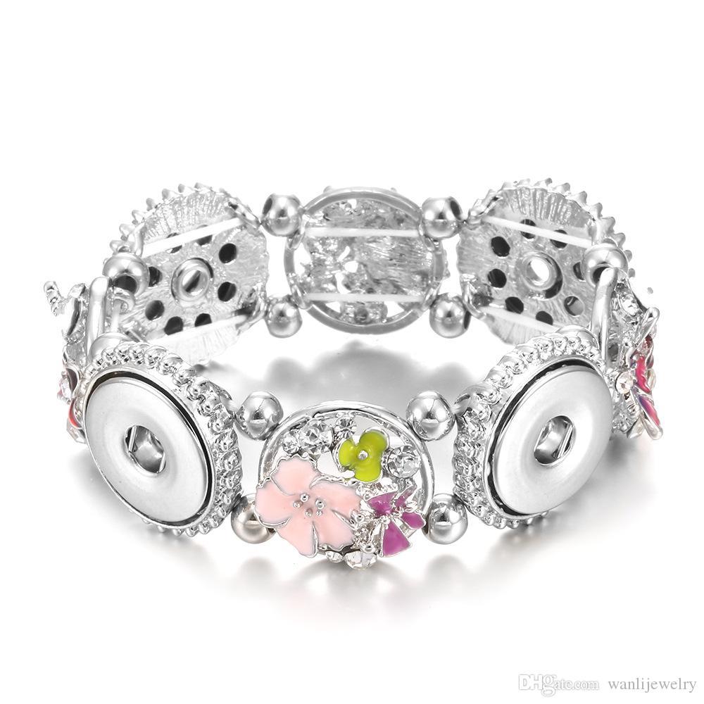 Nouveau 18mm Snap Bouton Femmes Snap Bijoux Bracelet Bohême Vintage Mode Bijoux Snap Charme Bracelets
