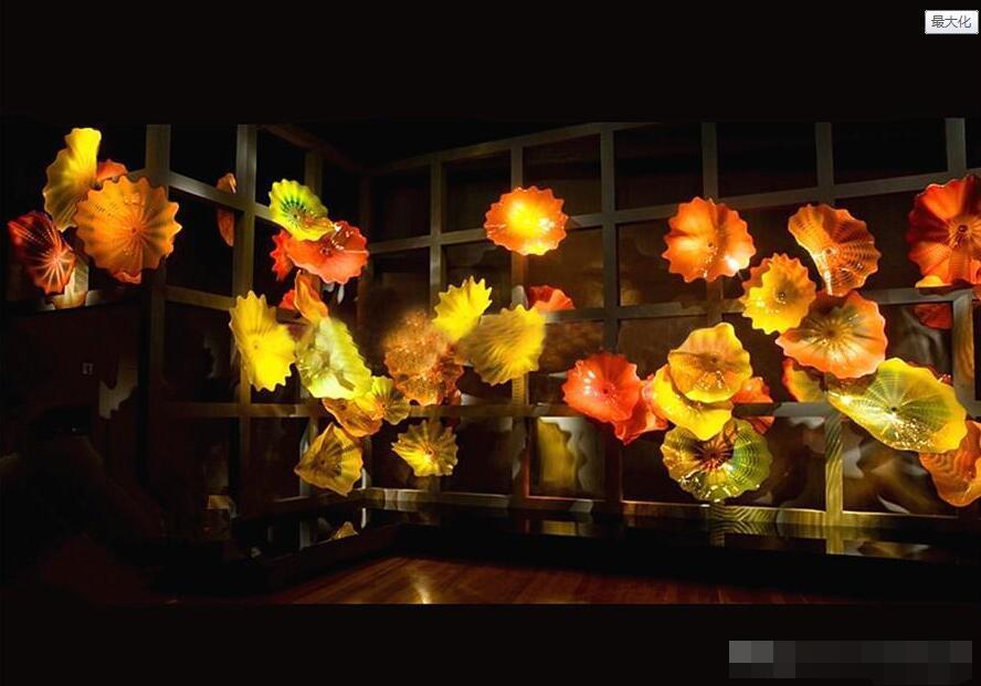 Elegantes lámparas de pared moderna soplado placas Arte de vidrio para colgar de la pared Placas de Murano Flor de arte de la pared para el hogar decoración del hotel