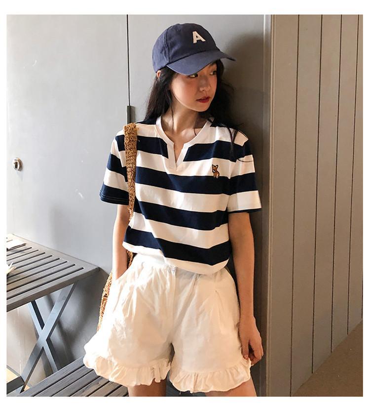 Sommer-Frauen-T-Shirt Designer beiläufige kurze Hülsen-gestreifter Druck T-Shirt Mode Luxus Frauen helle Qualitäts-Splice-T-Shirts Tuch 0