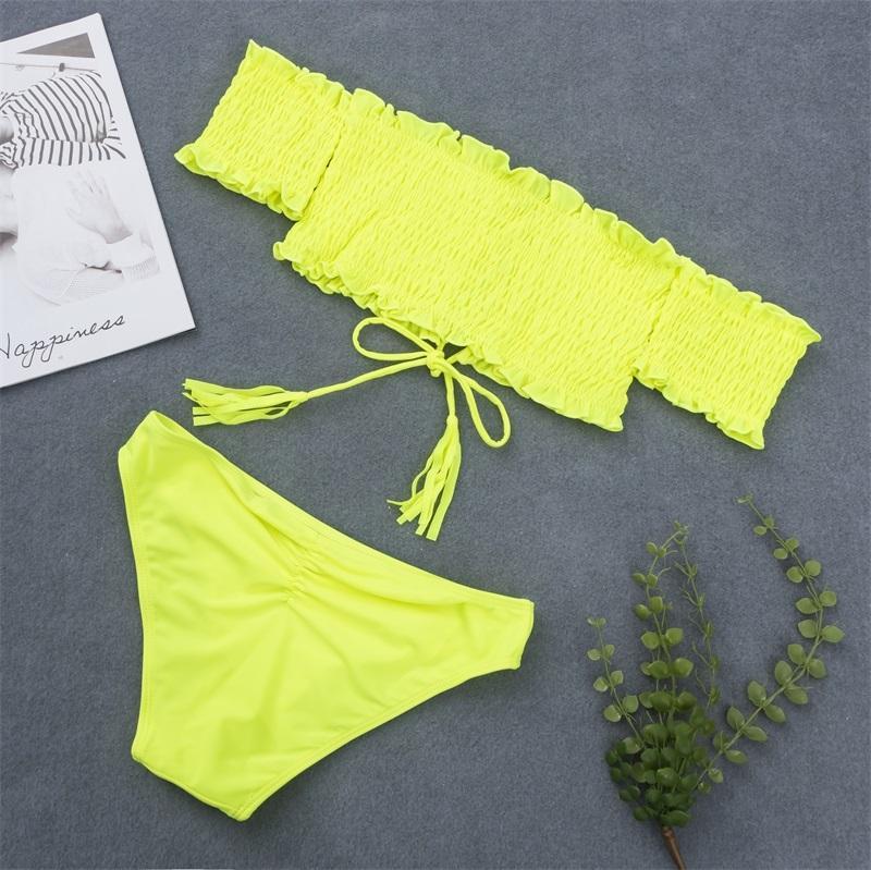 2019 sexy bikini de dentelle Up Maillots de bain Maillot de bain femme brésilienne épaules Bikinis Femmes Bandeau Biquini Maillot de Bain Neon Jaune Y200319