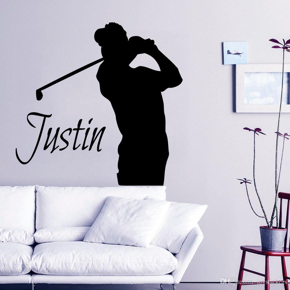 Golf Wall Decal Customized Name Boy Room Vinyl Stickers Golfer Sport Wall Poster Bedroom Decor Vinyl Sticker Wall Murals