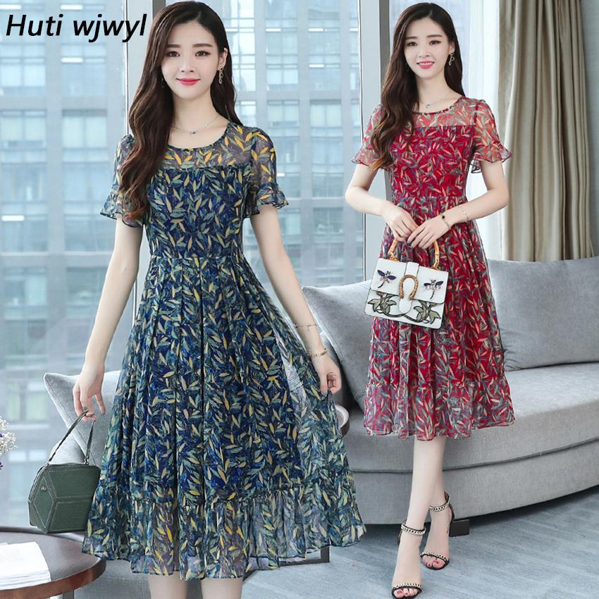 tamanho 3XL Além disso Verão Floral Chiffon Boho sundress 2020 coreano elegante Mulheres Praia Midi vestidos casuais Partido clube Vestido Vestidos T200604