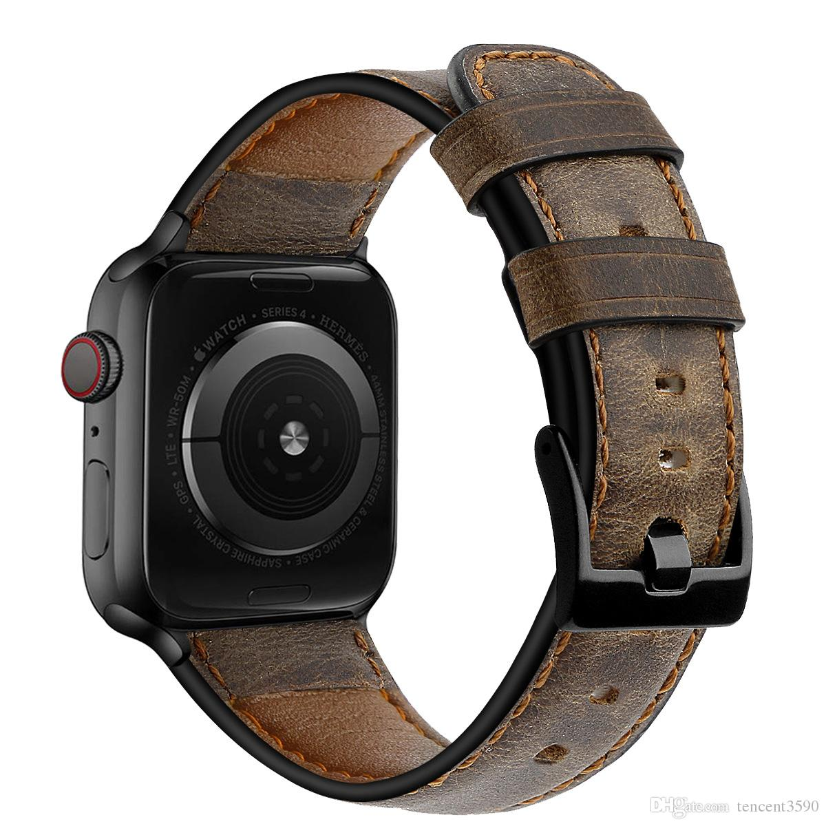 Good Quality Retro Leather Band for Apple Watch Series 5 4 3 2 1 Replacement Watch Strap for Iwatch 38mm 40mm 42mm 44mm Watch Bands