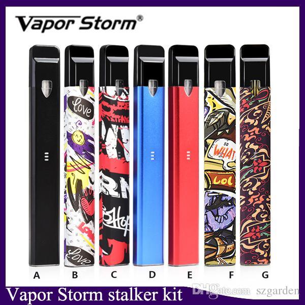 Аутентичные Vapor Storm Stalker Kit E Сигареты Наборы Vape Pen 400 мАч Батарея 1,8 мл Многоразовые картриджи Vape Pod Vaporizer 7 Цвета 0268113