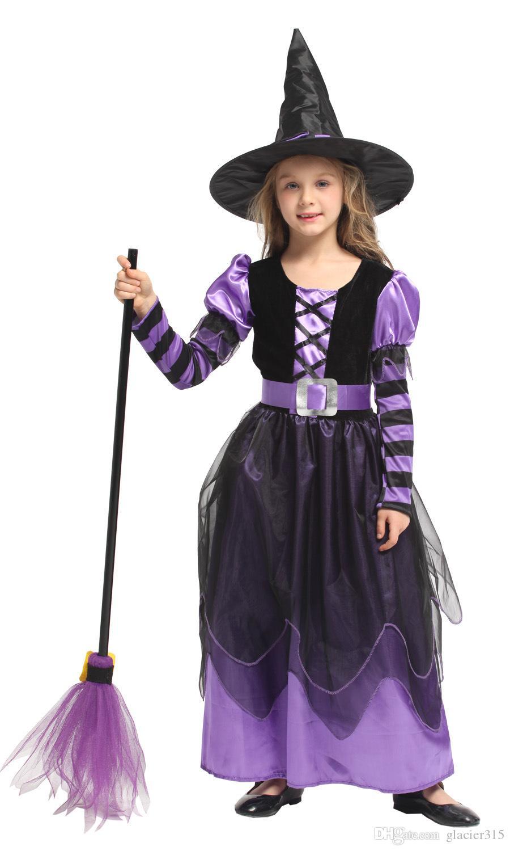 Шанхайская история девушки костюм ведьмы дети платье с шляпой одежда на хэллоуин для детей