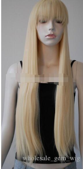 LIVRAISON GRATUITE + ++ Perruque droite blonde pâle et soignée