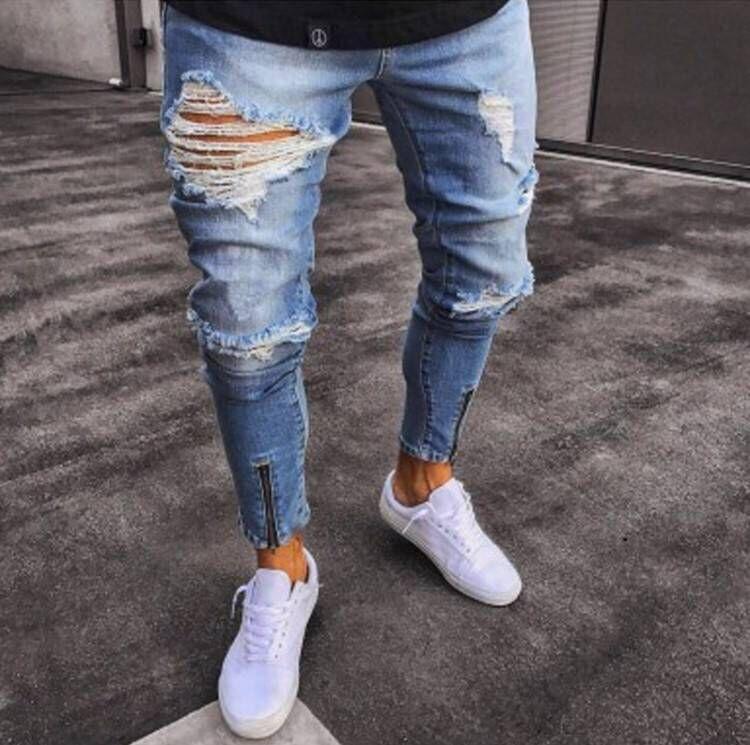 Горячий продавать Европа и Америка с отверстиями Cowboy Non-Эластичность ног Рот Zipper Мода Cowboy Мужские брюки Мужские