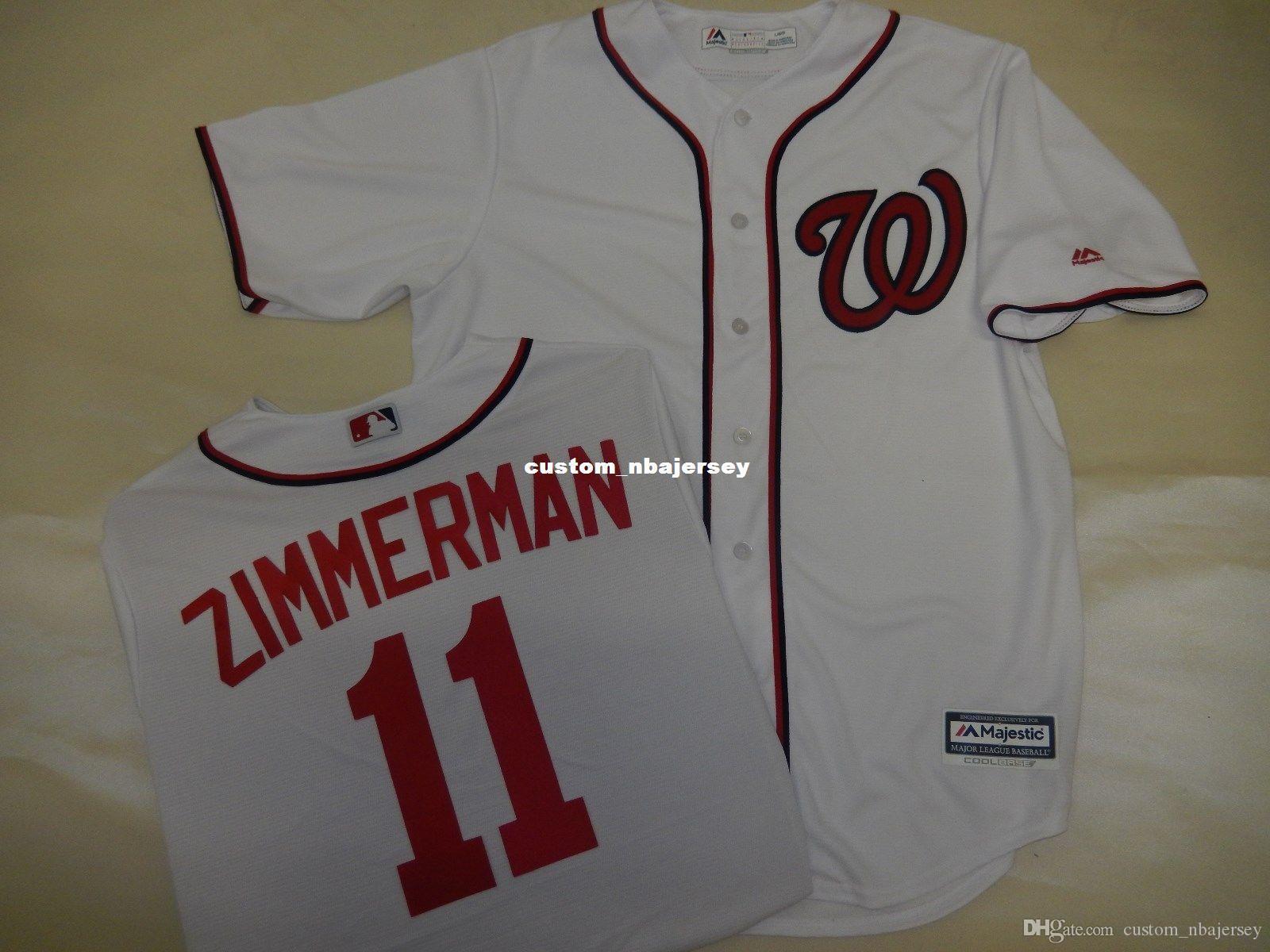 barato aduana Ryan Zimmerman cosida bajo fresco Jersey Blanco cosido Personalizar cualquier número nombre HOMBRE MUJER JERSEY DE BÉISBOL XS-5XL