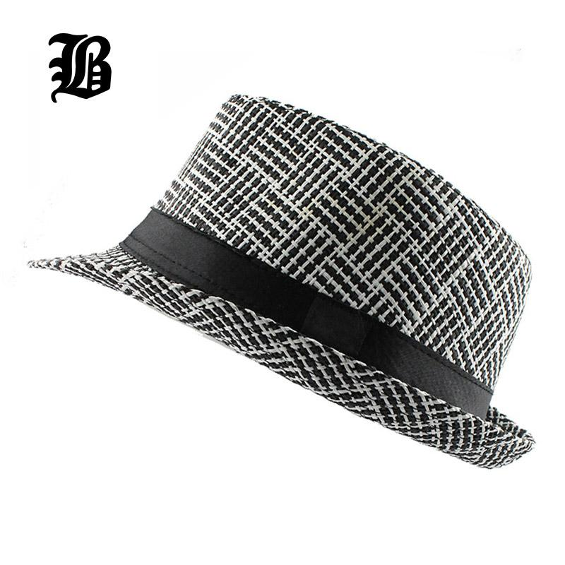 [FLB] Trendy Unisex Side Fedora Trilby Gangster Cap For Women men Summer Beach Sun Straw Panama Hat Men Fashion lattice Hats