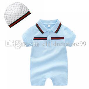Yaz marka etiket yürüyor bebek giyim pamuk bebek erkek kız yenidoğan romper şerit nakış Tulumlar + şapka 2 adet / takım