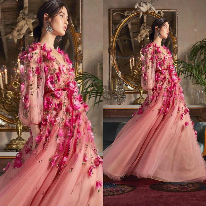 2020 Marchesa Prom Dresses With 3D Floral Flowers Long Sleeves V Neckline Custom Made Evening Gowns Party Dress Floor Length Tulle