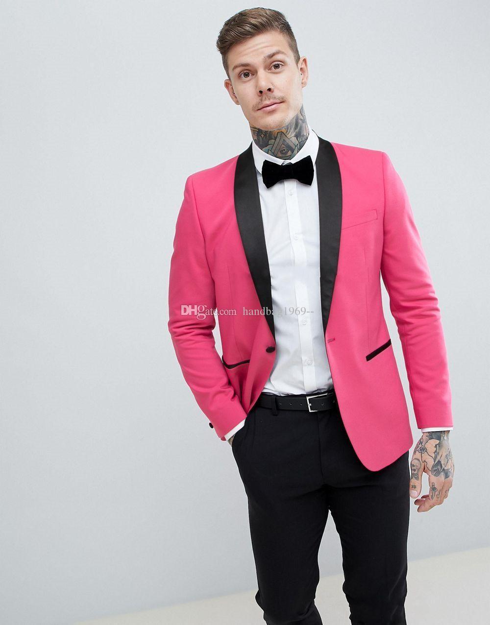 새로운 도착 원 버튼 핫 핑크 신랑 턱시도 어깨 걸이 옷깃 Groomsmen 최고의 남자 파티 망 결혼식 정장 (자켓 + 바지 + 타이) K1