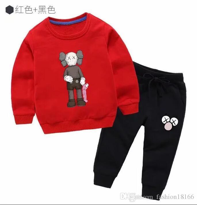 roupas infantis atacado novas meninos e meninas dos desenhos animados cor sólida de manga comprida em torno do pescoço sweater terno camisola crianças 2T-T8