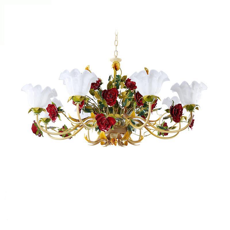 미국의 LED는 꽃 유리 웨딩 파티 로즈 매달려 실내 꽃 샹들리에 D73 생활 소녀 침실 조명기구 조명 램프 점등