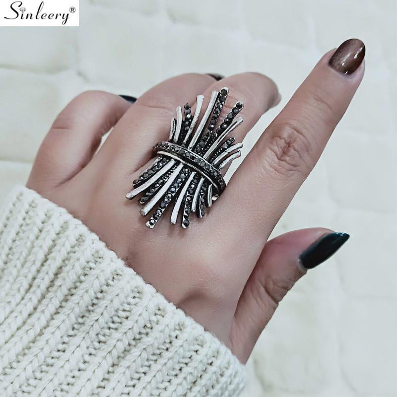 Kadınlar Yılbaşı Hediyeleri Mücevher JZ614 için SINLEERY Benzersiz Antik Gümüş Renk Vintage Boho Siyah Taşlı Geniş Parmak Halkası