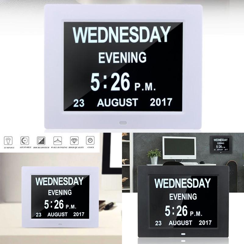 """LED de 8"""" Large Time reloj de pared con la hora digital del reloj de pared Calendario Día Semana Mes Año Calendario luz nocturna Para el hogar Sala Y200407"""