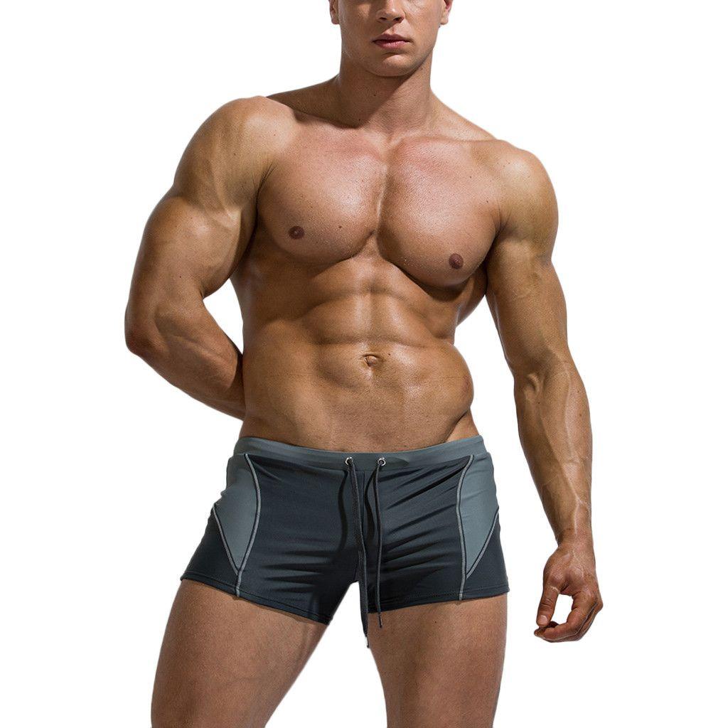 2019 New Mens Swim Trunks Briefs Men's Patchwork Sexy Nylon Breathable Bulge Briefs Swimming Trunks Kapielowki Meskie 5.16