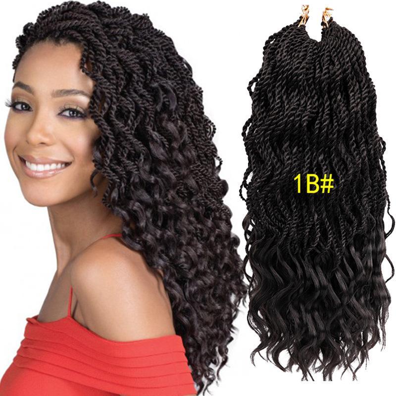 2019 New Style 18 Wavy Senegalese Twist Crochet Hair Braids Wavy Ends Free Synthetic Hair Extensions Kanekalon Braiding Hair Dreadlocks Braids From