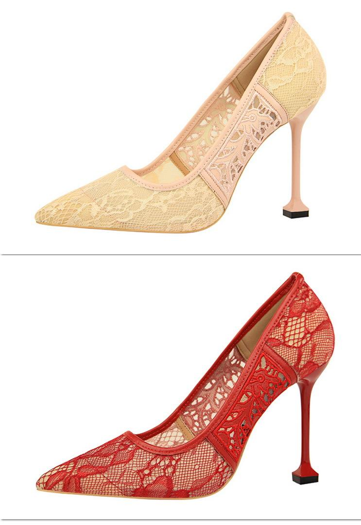 1717512 European and American fashion thin heel super high heel shallow mouth pointed mesh lace hollow single shoes womens high heels