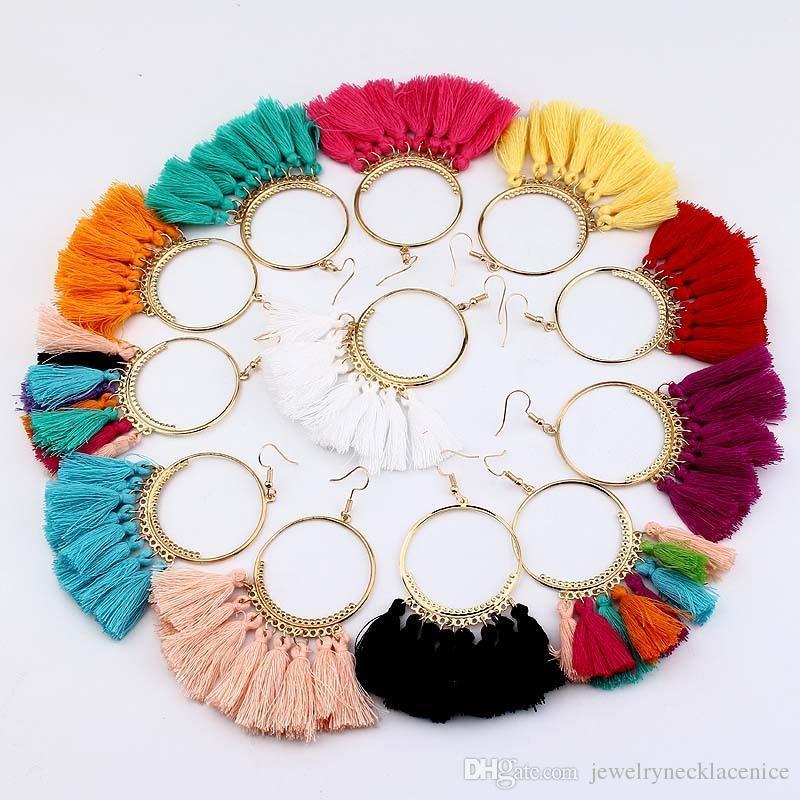 Declaración de Bohemia de la borla de la fiesta Novia Pendientes de la vendimia para las mujeres Ronda de gota largos con flecos de novia joyería del regalo de 16 colores