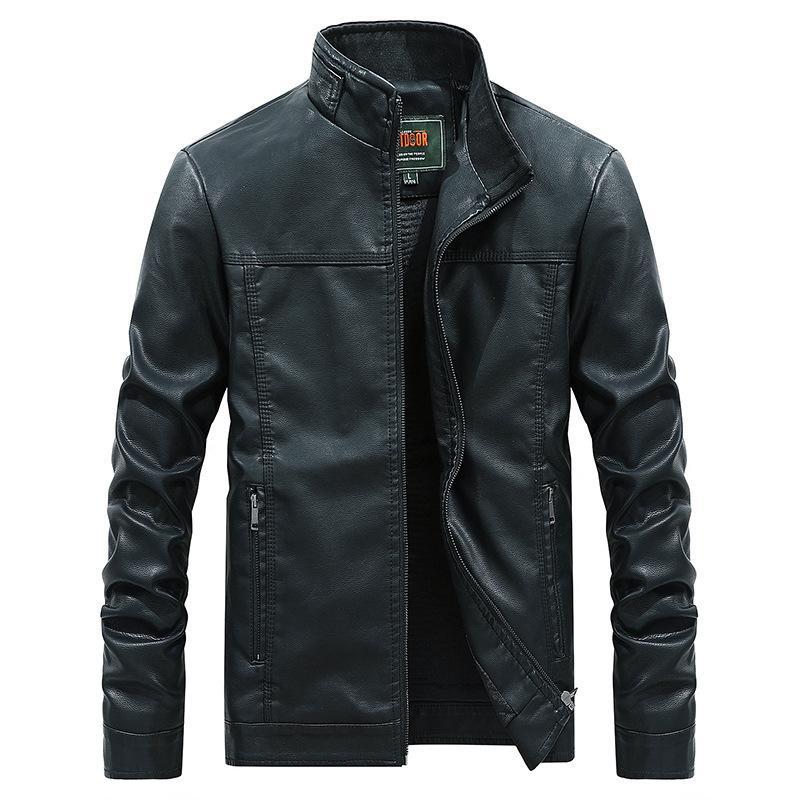 Оптово-Solid Color весна осень PU кожаная куртка мужчин 2019 моды Тонкий Тонкий кожаный Coat для Мужчины Плюс Размер 4XL куртки D2924