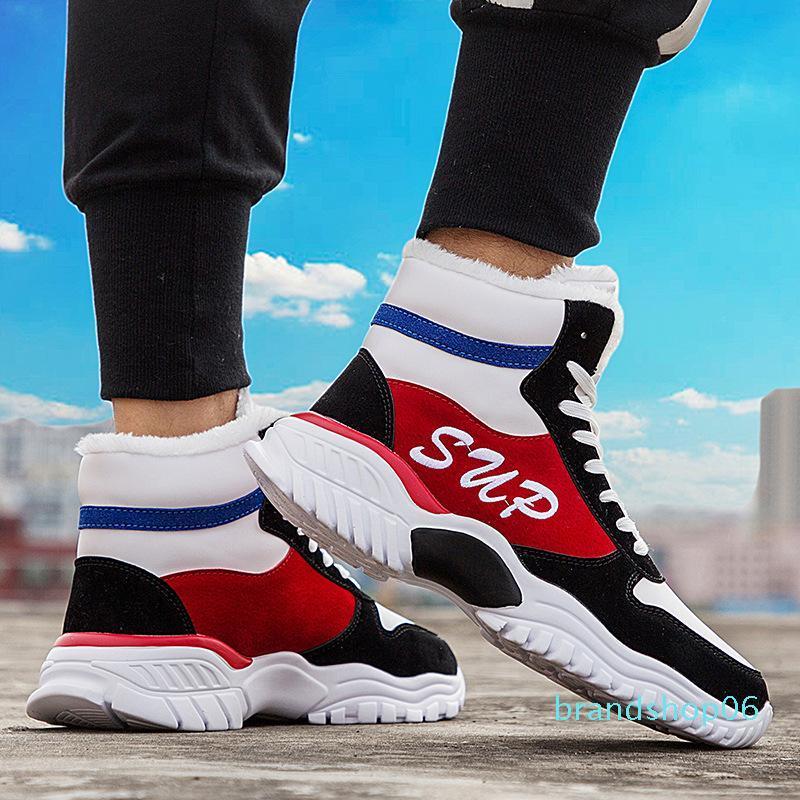 versión de invierno de Corea de los zapatos del alto-top nueva moda en el año 2019, 100 conjuntos de los zapatos de los hombres con Gaobang de terciopelo para mantener el calor
