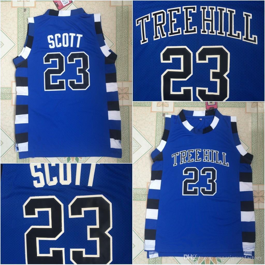Le film de Version Tree Hill Maillot de Basketball Lucas Scott 23 Film 100% cousu au-dessus de la jante Moive Blue S-3XL Expédition rapide
