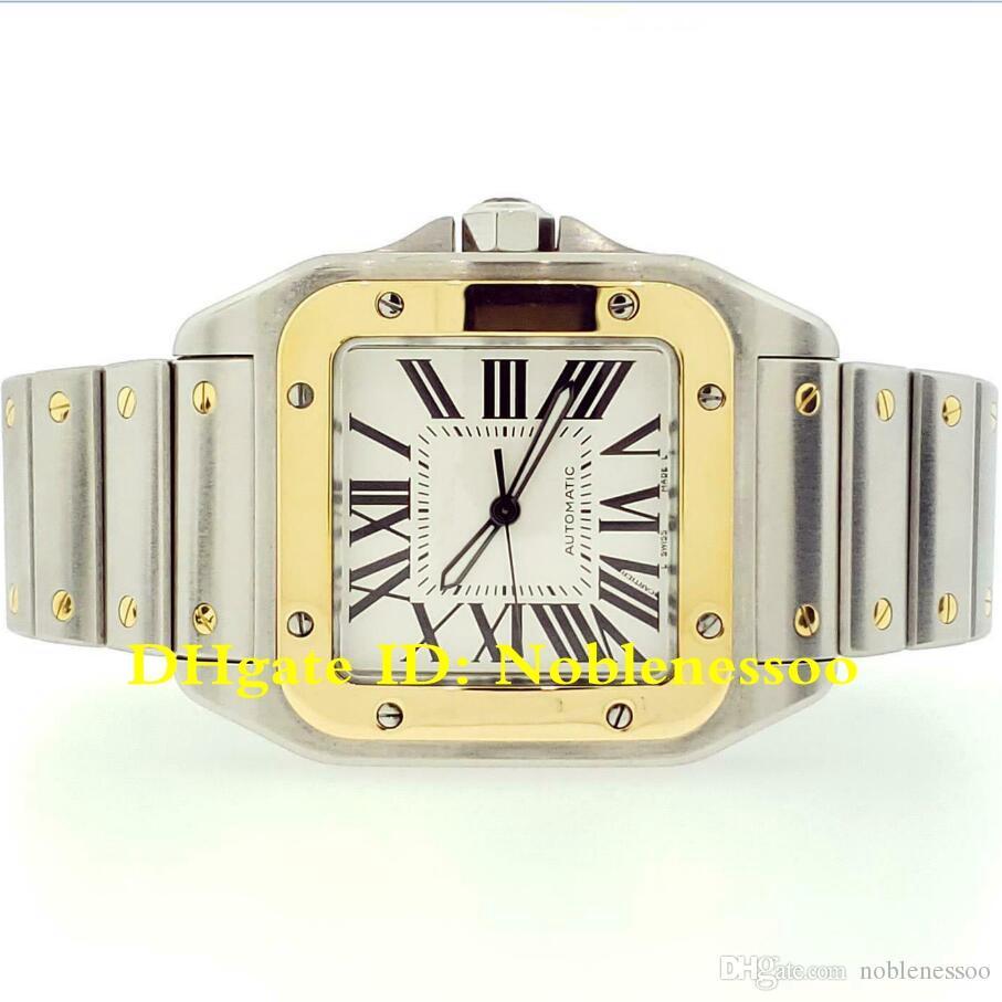 3 Stil erkek İzle 100 XL Çelik ve 18 K Sarı Altın Bilezik Otomatik Erkek W200728G Erkekler Spor Bilek Saatler
