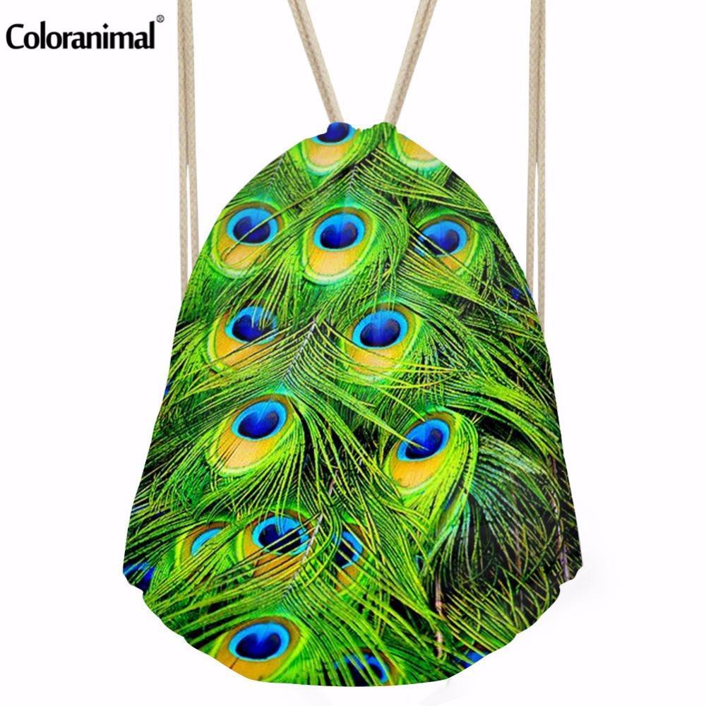 Coloranimal Canlı Peacock Feather İpli Çanta Kadınlar Boys Erkek Bez Dize Omuz Sırt Küçük Çocuk Kız Okul Çantaları