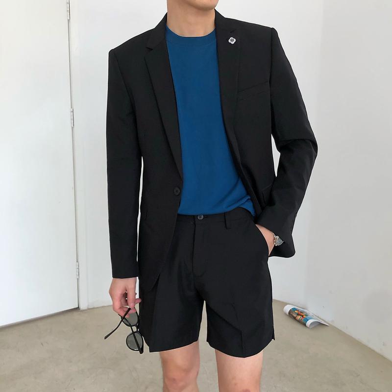 Set Suit cappotto maschile con shorts coreano elegante Abbigliamento Uomo 2020 Summer Fashion Slim Fit Blazer corto abito pantaloni per gli uomini