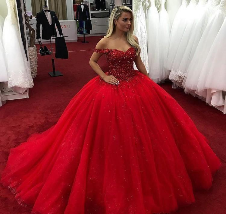 Cheap Red Quinceanera Dress Off Shoulder Beads Formal Princess Sweet 16 Ages Girls Prom Party Pageant Gown Plus Size Custom Made
