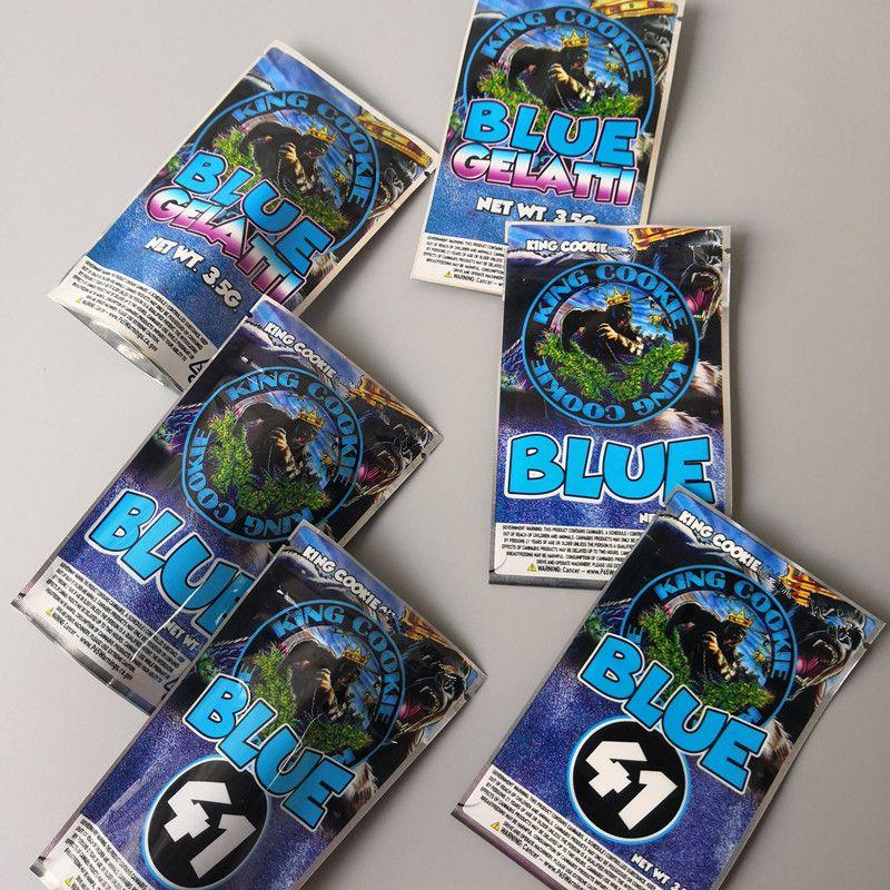 3 Types roi COOKIES Californie mylar Sacs de KING COOKIES bleu 41 biscuits bleu Gelatti et sacs mylar