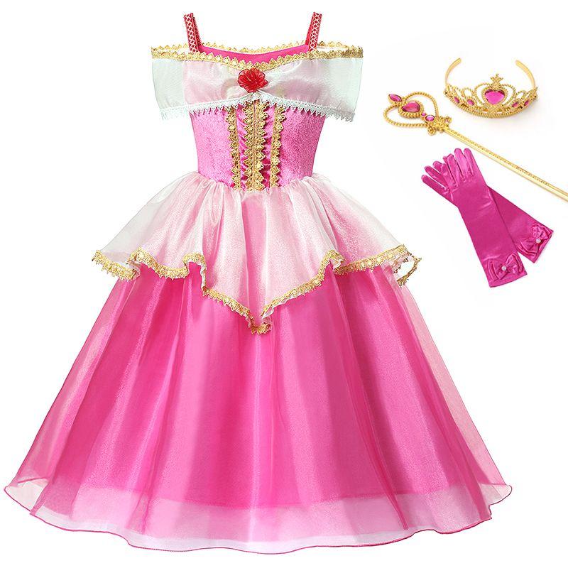 뷰티 공주 의상 어린이 크리스마스 파티 생일 화려한 드레스 Y200102 잠자는 소녀 핑크에 대한 YOFEEL 오로라 드레스 의상