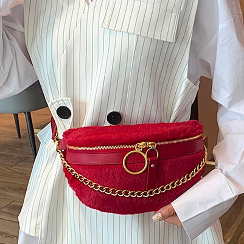 Designer- Femmes en peluche poitrine Sacs chaîne de mode Sac Messenger Sac à bandoulière Femme de grande capacité Zipper téléphone sacs argent Packs taille