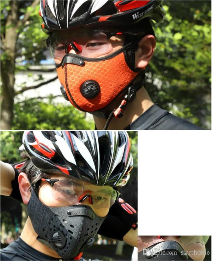 CICLISMO Ciclismo Deporte Formación de la mascarilla del PM2.5 anticontaminación Máscara Ejecución de filtro de carbón activado Máscara lavable 5pcs