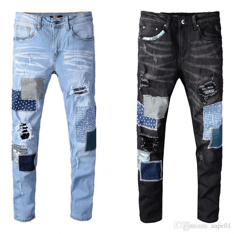 Ünlü Erkekler Jeans Delik Fermuar Yüksek Kalite Erkekler Jeans Casual Erkek Pantolon Açık Mavi Casual Hip Hop Pantolon Boyut 28-40