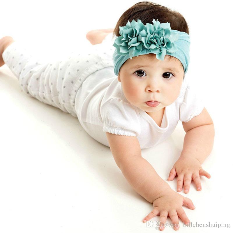 Vente chaude Bébé Filles Bandeaux Turban Lotus fleurs tête bandeaux Infant Enfants Élastique chapellerie Enfants Accessoires De Cheveux