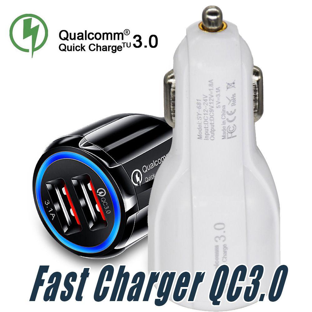 Top Quality QC 3.0 carga rápida carro 3.1A Quick Charge Carregador Dual USB carregamento rápido Phone Charger com saco de OPP
