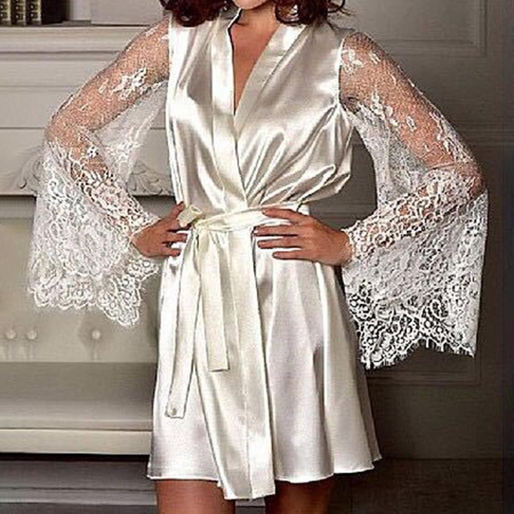2020 جديد مثير الملابس الداخلية الحرير الدانتيل الاسود كيمونو الحميم ملابس رداء ثوب الليل فضفاض أنثى أثواب حمام S-XL
